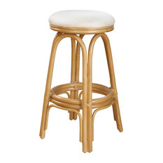Carmen Indoor Swivel Rattan & Wicker 30-inch Barstool - Sunbrella Frequency Sand