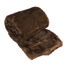 "Luxury Faux Fur Throws, Beaver, 50"" X 70"""