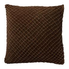 "Loloi 1'10""x1'10"" Cotton Poly Pillow, Brown"