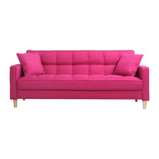 Divano Roma Furniture - Modern Linen Fabric Tufted Small Space Living Room Sofa, Pink - Sofas
