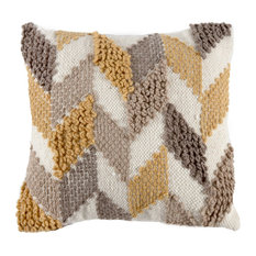 Limoges Handwoven Cushion, Brown and Yellow