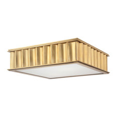 Middlebury 2 Light Flush Mount in Aged Brass