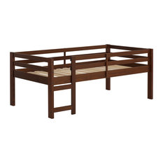 Solid Wood Low Loft Bed, Walnut