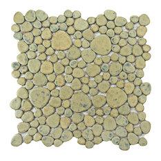 "SomerTile 11""x11"" Pebble Porcelain Mosaic Tile, Case of 10, Green Moss"