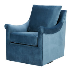 Olliix   Madison Park Deanna Swivel Chair, Blue   Armchairs And Accent  Chairs