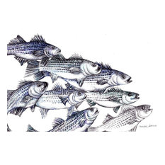 "Striped Bass Art Print, Pen and Ink Drawing Wall Print, ""Old School"""