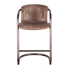 Chiavari Distressed Jet Brown Leather Counter Chairs Set Of 2