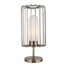 Woodbridge Lighting Tanner Table Lamp With Embedded LED, Brushed Brass