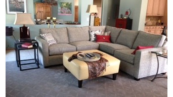 Custom sectional and leather ottoman