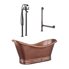 Euclid 6' Freestanding Bathtub With Faucet, Drain and Overflow, Antique Copper
