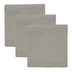 Quest Products, Inc - Turkish Cotton Ripple Kitchen Towels, Set of 3, Grey - Dish Towels