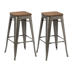 BTExpert Stackable Antique Style Brush Distressed Bar Stools Wood Seat Set