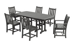Polywood Traditional Garden 7-Piece Dining Set, Slate Gray