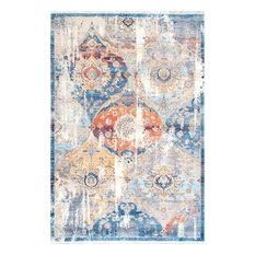 Vintage Floral Fringe, Blue, 8'x10'