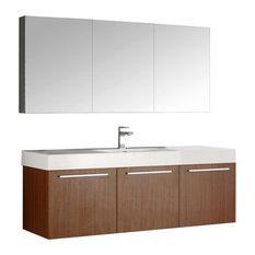 "Vista 60"" Teak Wall Hung Single Sink Modern Bathroom Vanity, FFT9151BN"