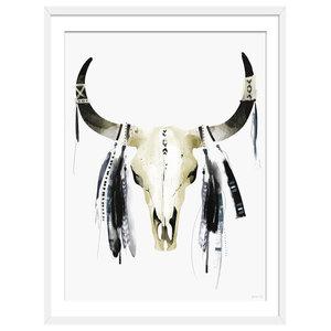 """""""Follow The Tribe"""" Boho Art Print, White Framed, 50x70 cm"""