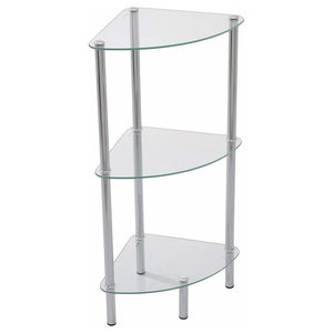 Modern Corner Display Unit, Tempered Glass and Chrome Legs With 3 Open Shelves