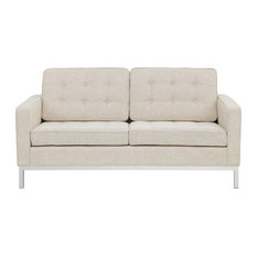 Aiden Upholstered Fabric Love Seat/Beige