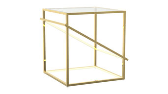 Gold Stainless Steel Geometric LED Light Fixture Table