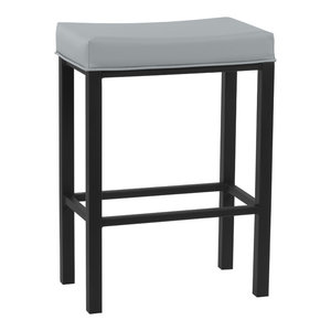 """Fran Backless Barstool, Gray Steel Faux Leather and Matte Black Finish, 26"""""""