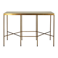 Worlds Away Meriden Metal Console Table, Antique Brass/Cream Shagreen