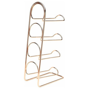 Wine Rack, Metal With 4-Bottle Capacity, Simple Contemporary Design, Copper