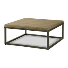 French Industrial Oak Wood And Metal Square Cocktail Table, Natural Oak   Coffee  Tables