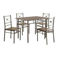 Contemporary Casual Dark Bronze 5-Piece Dining Set