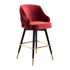 Abbey Tufted Back Bar Stool Burgundy