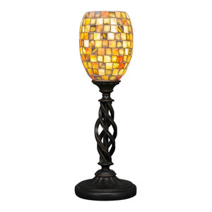 "Elegante 6"" 1-Light Mini Table Lamp, Dark Granite, Sea Haze Seashell Glass"