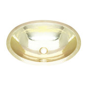 """19"""" Large Hammered Artisan Oval Bath Sink In Brass"""