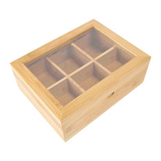 8-Compartment Bamboo Tea Box, Natural