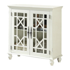 2 Door Accent Chest With Glass Inlay Design And Turned Feet White