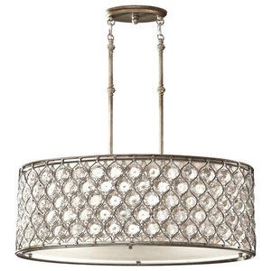 Pendant 3-Light, Burnished Silver With Fabric Shade
