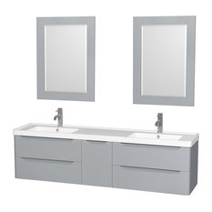 "72"" Double Vanity, Gray, Acrylic-Resin Top, Integrated Sinks and 24"" Mirrors"