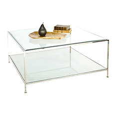 Quadro Hammered Metal Square Coffee Table With Beveled Glass Nickel Plated Coffee Tables