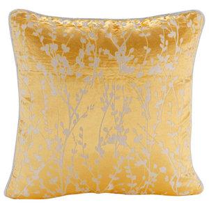 Mimosa Yellow Drops, Yellow 60x60 Burnout Velvet Pillow Sham
