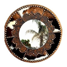 """Cowhide and Leather Decorative Western Mirror, 36"""""""