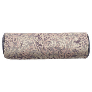 Patterned Bolster Cushion, Mauve and Ivory