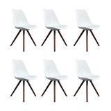 Scandi Style Dining Chair, Pyramid Walnut Legs, White, Set of 6