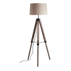 Industrial Floor Lamp With Tripod Pine Wooden Legs and Linen Shade
