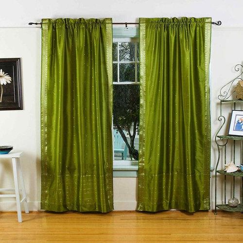 Rod Pocket Sari Curtains, Sari Panels, Sari Drapes