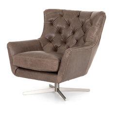37.00-inch L Gemma Swivel Chair Dakota Fossil Occasional Iron Top Grain Brushed