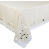 """Farmhouse Embroidered Daisy Hemstitched Tablecloth, Natural, 40""""x55"""""""