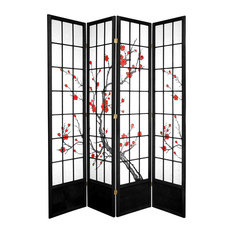 7' Tall Cherry Blossom Shoji Screen, Black, 4 Panels