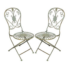 Folding Metal Bistro Chair With Scrolling Heart and Peacock Tail Motif, Set of 2