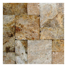 Tumbled Tuscany Scabos French Pattern Travertine Tile, Sample