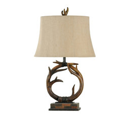 Dalton Circular Branch Table Lamp, Dark Brown Finish, Beige Shade