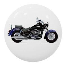 Blue Motorcycle Ceramic Cabinet Drawer Knob