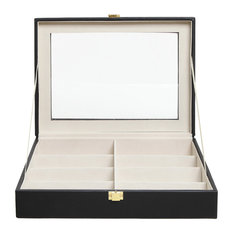 MyGift - 8-Slot Sunglasses and Eyeglasses Display Case With Clear Lid - Storage Bins and Boxes